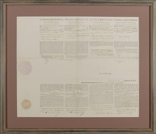 PRESIDENT THOMAS JEFFERSON - FOUR LANGUAGE SHIPS PAPERS SIGNED CO-SIGNED BY: PRESIDENT JAMES MADISON