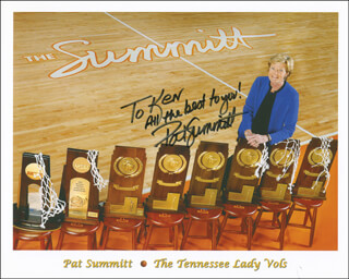 PAT SUMMITT - INSCRIBED PRINTED PHOTOGRAPH SIGNED IN INK