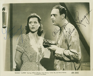 BOMBAY CLIPPER MOVIE CAST - AUTOGRAPHED SIGNED PHOTOGRAPH CO-SIGNED BY: IRENE HERVEY, WILLIAM GARGAN