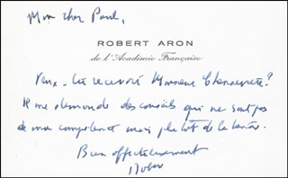 ROBERT ARON - AUTOGRAPH NOTE ON CALLING CARD SIGNED CIRCA 1975