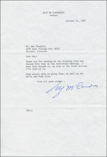 GOVERNOR ALF M. (ALFRED) LANDON - TYPED LETTER SIGNED 10/21/1965