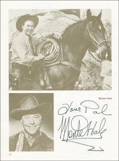 MONTE HALE - BOOK PAGE SIGNED CO-SIGNED BY: TERRY FROST