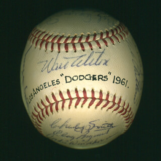 THE LOS ANGELES DODGERS - AUTOGRAPHED SIGNED BASEBALL CO-SIGNED BY: FRANK HONDO HOWARD, DOUG CAMILLI, RUBE WALKER, LARRY SHERRY, CLAY (CLAIBORNE H.) BRYANT, PETE REISER, JOHNNY ROSEBORO, NORM LARKER, GORDIE WINDHORN, GIL HODGES, CHARLEY SMITH, BILLY HUNTER, WALTER E. SMOKEY ALSTON, LEO DUROCHER, WALLY MOON, SANDY KOUFAX, BOB ASPROMONTE, DUKE SNIDER, RICK WARREN, NELSON CHITTUM