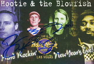 HOOTIE AND THE BLOWFISH - PICTURE POST CARD SIGNED CO-SIGNED BY: HOOTIE AND THE BLOWFISH (DARIUS RUCKER), HOOTIE AND THE BLOWFISH (DEAN FELBER ), HOOTIE AND THE BLOWFISH (JIM SONEFELD ), HOOTIE AND THE BLOWFISH (MARK BRYAN )