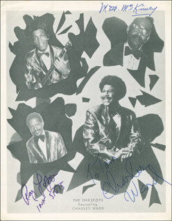 THE INK SPOTS - AUTOGRAPHED INSCRIBED PHOTOGRAPH CO-SIGNED BY: THE INKSPOTS (RAY LOPER), THE INKSPOTS (MATT McKINNEY), THE INK SPOTS (CHARLES WARD)