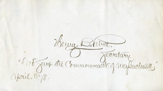 HENRY B. PEIRCE - AUTOGRAPH QUOTATION SIGNED 4/1878