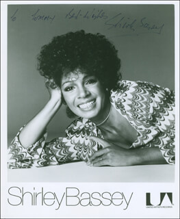 SHIRLEY BASSEY - AUTOGRAPHED INSCRIBED PHOTOGRAPH
