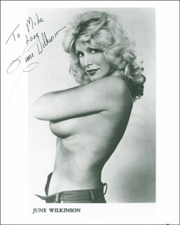 JUNE WILKINSON - INSCRIBED PRINTED PHOTOGRAPH SIGNED IN INK
