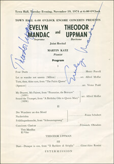 THEODOR UPPMAN - PROGRAM SIGNED CO-SIGNED BY: EVELYN MANDAC
