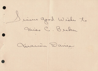 MARION DAVIES - AUTOGRAPH NOTE SIGNED 07/29/1938