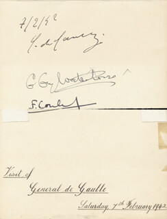 Autographs: PRESIDENT CHARLES DE GAULLE (FRANCE) - SIGNATURE(S) 02/07/1942 CO-SIGNED BY: FRANCOIS COULET, ADMIRAL EDWARD RATCLIFFE (1ST BARON MOUTEVANS) EVANS, COLONEL BERTRAM J.T. FORD, W. B. NEALE, SIDNEY A. WRIGHT, ARTHUR J. RYCROFT, HARRY ERRINGTON, GEORGE ALBERT FEARN, JOHN HADLEY