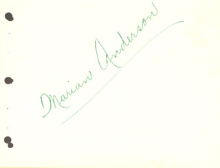 MARIAN ANDERSON - AUTOGRAPH