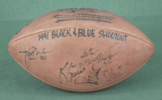 Autographs: 1991 BLACK & BLUE SHOOTOUT - FOOTBALL SIGNED CO-SIGNED BY: WILLIAM REFRIGERATOR PERRY, STEVE McMICHAEL, TOM THAYER, KEVIN BUTLER, JAMES THORNTON
