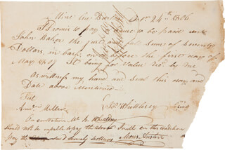 Autographs: MOSES AUSTIN - PROMISSORY NOTE SIGNED 10/24/1806