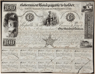 PRESIDENT MIRABEAU B. LAMAR (REPUBLIC OF TEXAS) - BOND SIGNED CO-SIGNED BY: JAMES WRIGHT SIMMONS