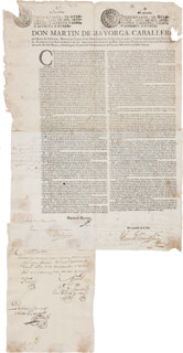 Autographs: MARTIN DE MAYORGA - DOCUMENT SIGNED 12/14/1779 CO-SIGNED BY: TEODORO DE CROIX