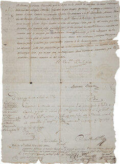 Autographs: TEODORO DE CROIX - DOCUMENT SIGNED 12/02/1779 CO-SIGNED BY: MARTIN DE MAYORGA, ANTONIO BONILLA