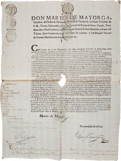 Autographs: MARTIN DE MAYORGA - DOCUMENT SIGNED 07/09/1782 CO-SIGNED BY: TEODORO DE CROIX