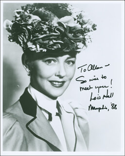 LOIS HALL - AUTOGRAPHED INSCRIBED PHOTOGRAPH 1988