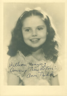 ANN E. TODD - AUTOGRAPHED INSCRIBED PHOTOGRAPH