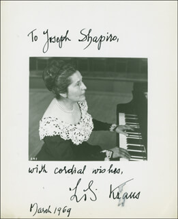 LILI KRAUS - AUTOGRAPHED INSCRIBED PHOTOGRAPH 03/1969