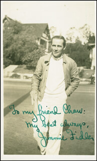 JAMES JIMMIE FIDLER - AUTOGRAPHED INSCRIBED PHOTOGRAPH