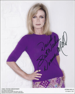 DONNA MILLS - INSCRIBED PRINTED PHOTOGRAPH SIGNED IN INK