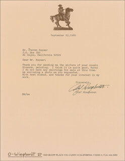 OLAF WIEGHORST - TYPED LETTER SIGNED 09/25/1980