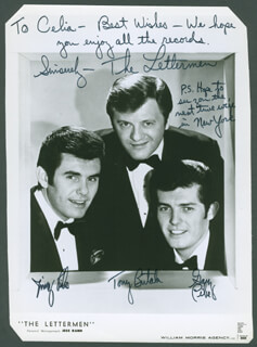 THE LETTERMEN - AUTOGRAPHED INSCRIBED PHOTOGRAPH CO-SIGNED BY: THE LETTERMEN (GARY PIKE), THE LETTERMEN (JIM PIKE), THE LETTERMEN (TONY BUTALA)