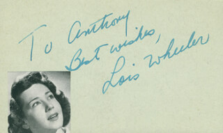 LOIS WHEELER - AUTOGRAPH NOTE SIGNED