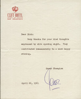 GOWER CHAMPION - TYPED LETTER SIGNED 04/22/1961