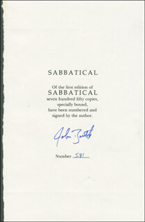 JOHN BARTH - BOOK PAGE SIGNED