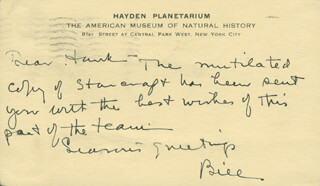 WILLIAM H. BARTON JR. - AUTOGRAPH NOTE SIGNED 1939  - HFSID 294730