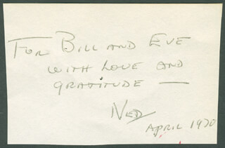 NED CALMER - AUTOGRAPH NOTE SIGNED 04/1970