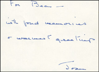 JOAN M. ERIKSON - AUTOGRAPH NOTE SIGNED
