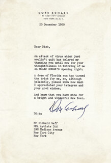 DORE SCHARY - TYPED LETTER SIGNED 12/20/1960