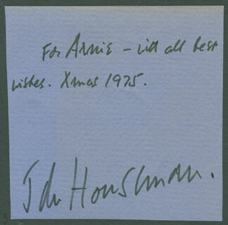 JOHN HOUSEMAN - AUTOGRAPH NOTE SIGNED 12/1975