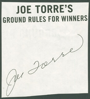 JOE TORRE - BOOK PAGE SIGNED