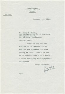 Autographs: CURTIS BOK - TYPED LETTER SIGNED 12/01/1941