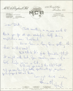 KENNETH HAIGH - AUTOGRAPH LETTER SIGNED
