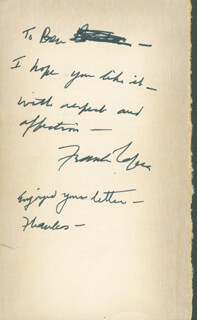 FRANK CAPRA - AUTOGRAPH NOTE SIGNED