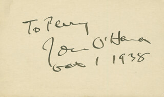 JOHN H. O'HARA - INSCRIBED SIGNATURE 10/01/1938