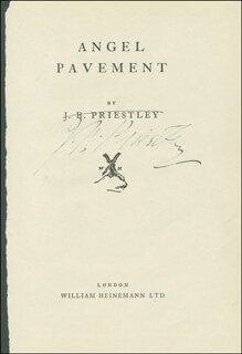 J.B. (JOHN) PRIESTLEY - BOOK PAGE SIGNED