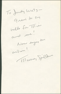 MICKEY SPILLANE - AUTOGRAPH NOTE SIGNED