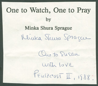 Autographs: MINKA SHURA SPRAGUE - AUTOGRAPH NOTE SIGNED 5/29.1988
