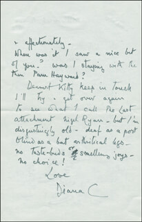 Autographs: DIANA LADY DIANA COOPER MANNERS - AUTOGRAPH LETTER SIGNED CIRCA 1978