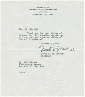 DAVID E. LILIENTHAL - TYPED LETTER SIGNED 10/18/1949