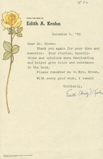 EDITH A. HINDY KROHN - TYPED LETTER SIGNED 12/04/1989