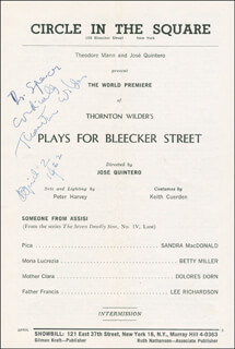 THORNTON WILDER - INSCRIBED SHOW BILL SIGNED 04/02/1962