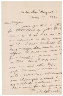 MAJOR GENERAL JAMES EWELL BROWN JEB STUART - AUTOGRAPH LETTER SIGNED 05/17/1862